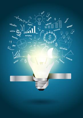 Vector Creative Template with idea light bulb broken
